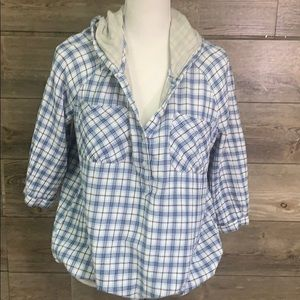 FREE PEOPLE HOODIE blue plaid drawstring waist L